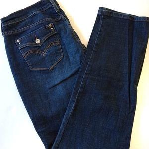 Levi's 505 straight leg jeans size 16 dark wash